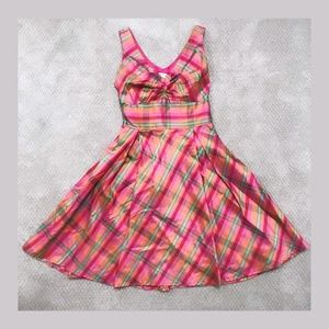 Pink Retro Plaid Dress
